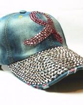 turkuaz taşlı zımbalı denim kot şapka sk5910