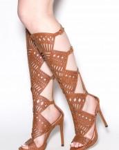 uzun topuklu gladyatör taba sandalet sk8127