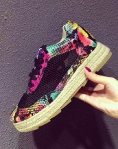 yılan derisi bağcıklı espadril spor ayakkabı sk7590