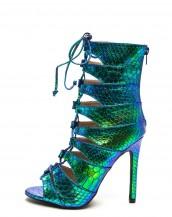 yılan derisi desenli mavi yeşil gladyatör topuklu sandalet sk8120