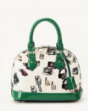 yeşil karikatür baskılı rugan çanta sk6858