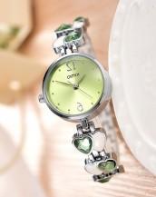 yeşil taşlı kordonlu zarif kol saati sk8032