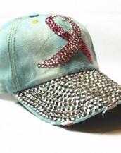 yeşil taşlı zımbalı denim kot şapka sk5910