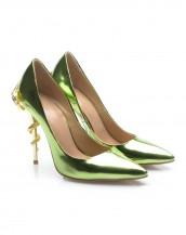 yeşil yılan topuk detaylı rugan stiletto sk6164