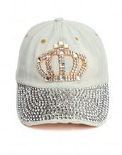 zımbalı taşlı beyaz kraliçe kot şapka sk8057