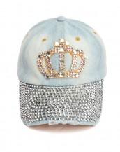 zımbalı taşlı buz mavisi kraliçe kot şapka sk8057