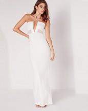 çapraz askılı maksi uzun beyaz gece elbisesi sk8888