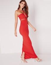 çapraz askılı maksi uzun kırmızı gece elbisesi sk8888