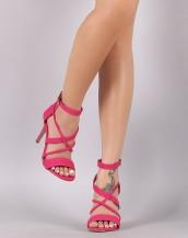 çapraz bantlı fuşya pembe topuklu sandalet sk8743