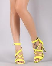 çapraz bantlı neon sarı topuklu sandalet sk8743