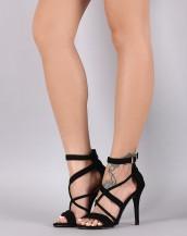 çapraz bantlı siyah topuklu sandalet sk8743