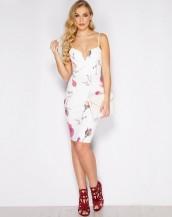 çiçek desenli beyaz baharlık midi elbise sk9096