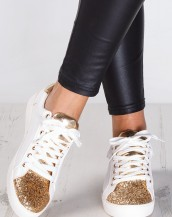 altın beyaz simli yaldızlı spor ayakkabı sk9227