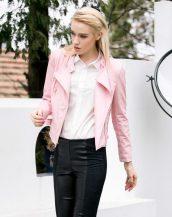 baharlık slim fit pudra rengi bayan deri ceket sk10415