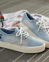 buz mavisi eskitme kot bağcıklı sneaker ayakkabı sk10335