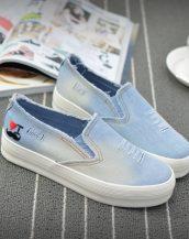 buz mavisi eskitme kot sneaker ayakkabı sk10335