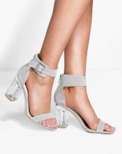 cam topuklu gri tokalı sandalet sk8314
