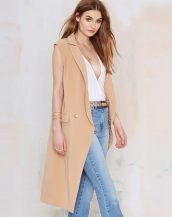 camel bej uzun blazer kumaş yelek sk9723