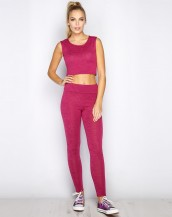 crop top gym bayan pembe spor eşofman sk9283