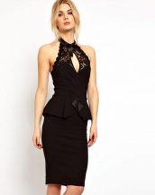dantel detaylı siyah kalem gece elbisesi sk9761