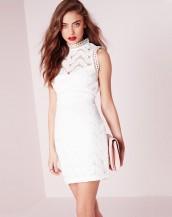 dantel işlemeli beyaz mini gece elbisesi sk8991