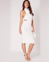 degaje yaka sırt dekolteli beyaz gece elbisesi sk8689
