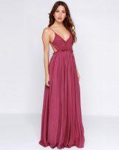 dekolteli gül kurusu rengi uzun maksi elbise sk10047