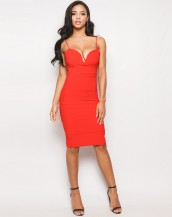 dekolteli midi kırmızı gece elbisesi sk9171