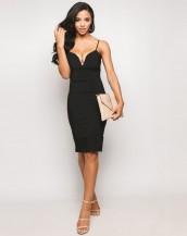 dekolteli midi siyah gece elbisesi sk9171