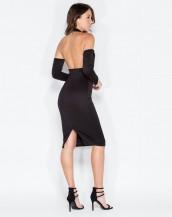 dekolteli siyah şık gece kıyafeti sk8445