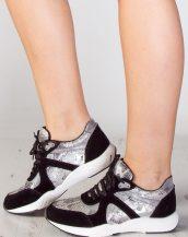 gümüş rengi süet parlak spor ayakkabı sk9430