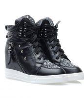 gizli topuklu siyah payetli sneaker ayakkabı sk10353