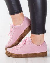 kahverengi tabanlı süet pembe sneaker sk9402