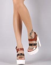 kare topuklu beyaz leopar platform sandalet sk8660