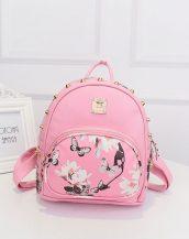 kelebek çiçek baskılı zımbalı pembe sırt çantası sk10140
