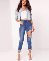 koyu mavi yüksek bel boyfriend jeans sk10090