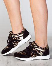 leopar desenli süet parlak spor ayakkabı sk9430