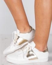 metalik şeritli beyaz altın spor sneaker ayakkabı sk9353