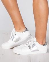 metalik şeritli beyaz gümüş sneaker spor ayakkabı sk9353