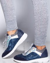metalik pullu gümüş lacivert spor ayakkabı sk9559