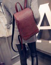 retro zımbalı bordo sırt çantası sk10073