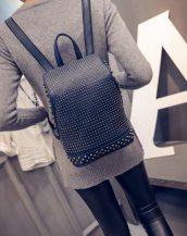 retro zımbalı lacivert sırt çantası sk10073