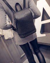 retro zımbalı siyah sırt çantası sk10073