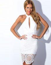 sırt dekolteli beyaz midi dantel elbise sk9754