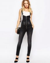 siyah denim bahçıvan tulum pantolon sk9831