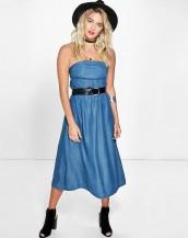straplez uzun mavi denim kot elbise sk8309