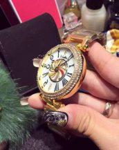 taş işlemeli altın rengi bayan kol saati sk9968