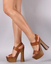 taba deri ahşap platform topuklu sandalet sk8732