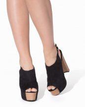 tokalı platform siyah kalın topuklu ayakkabı sk9065