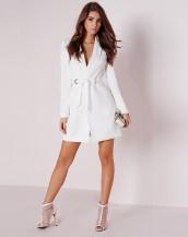 uzun kollu blazer beyaz baharlık elbise sk9037